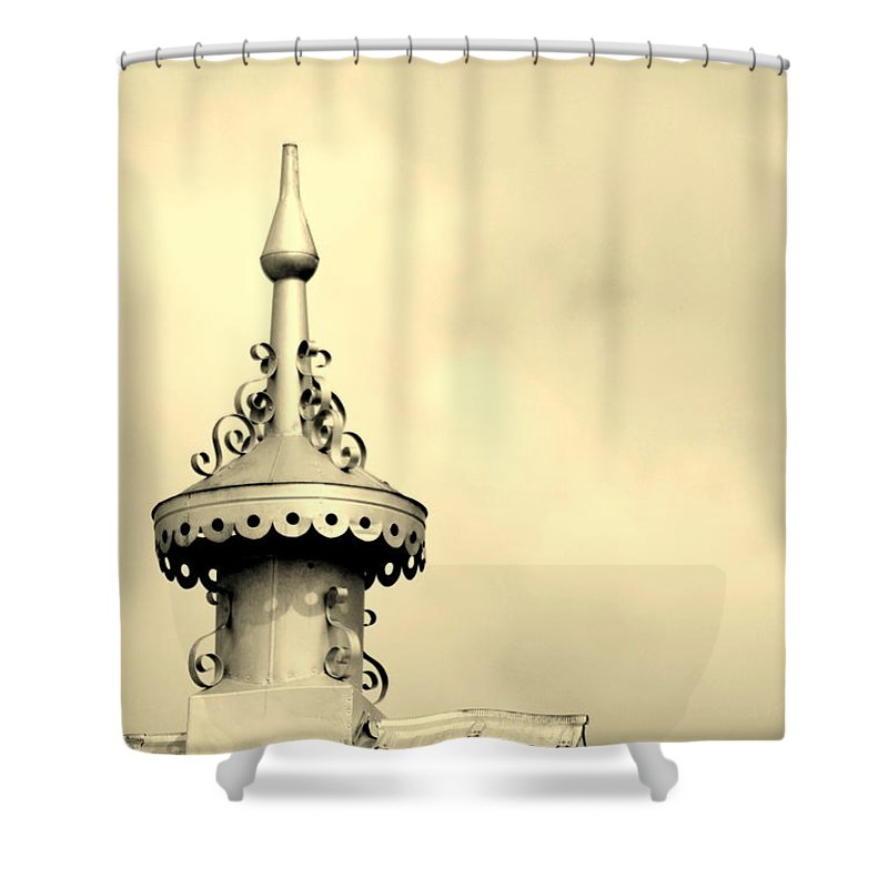 Barn Shower Curtain featuring the photograph Top Of The Barn Tin Finial by Kathy Barney