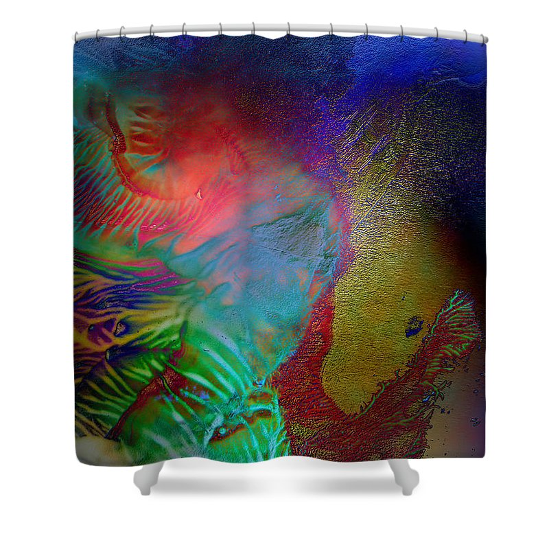 Surrealism Shower Curtain featuring the digital art Topology Of Decalcomania by Otto Rapp