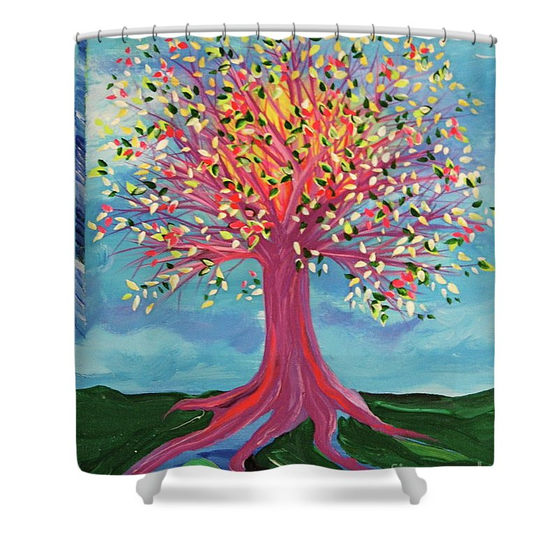 Tree Shower Curtain featuring the painting Tori's Tree By Jrr by First Star Art