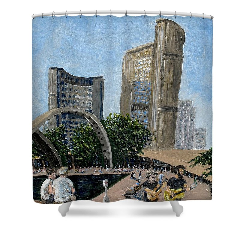 Toronto Shower Curtain featuring the painting Toronto City Hall by Ian MacDonald
