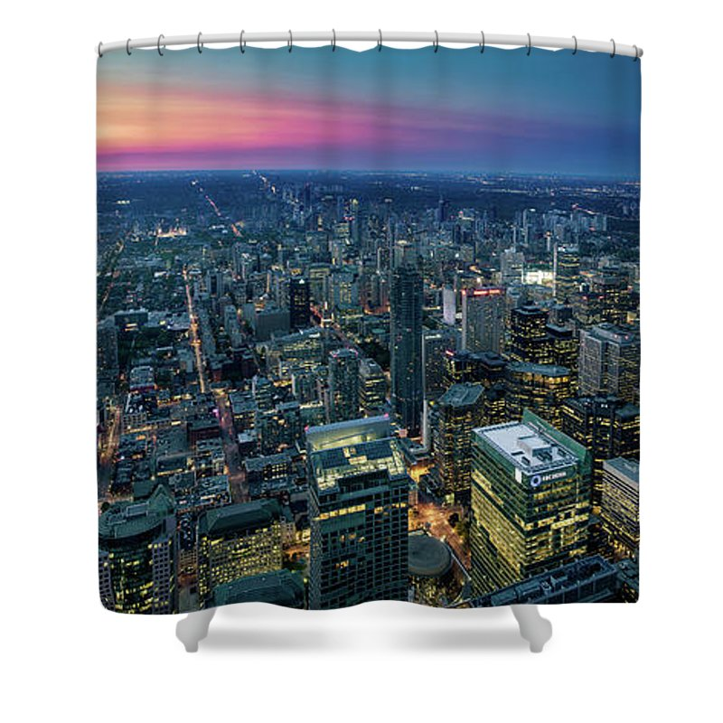 Downtown District Shower Curtain featuring the photograph Toronto Downtown City At Night by D3sign