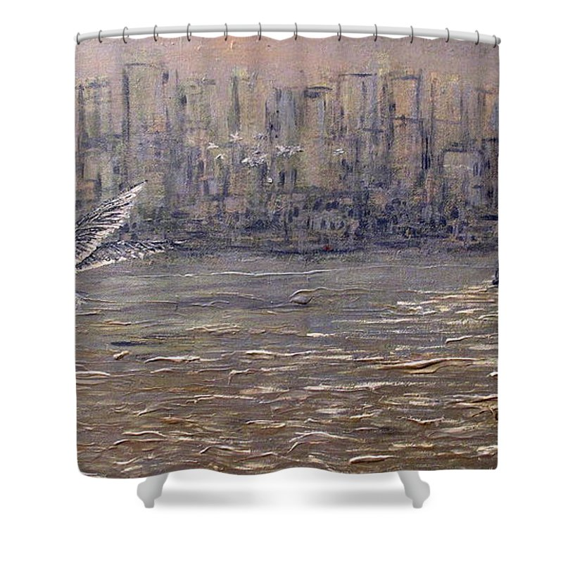 Toronto Shower Curtain featuring the painting Toronto Harbor Morning by Ian MacDonald