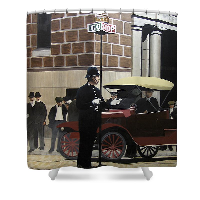Streetscapes Shower Curtain featuring the painting Toronto Traffic Cop 1912 by Kenneth M Kirsch