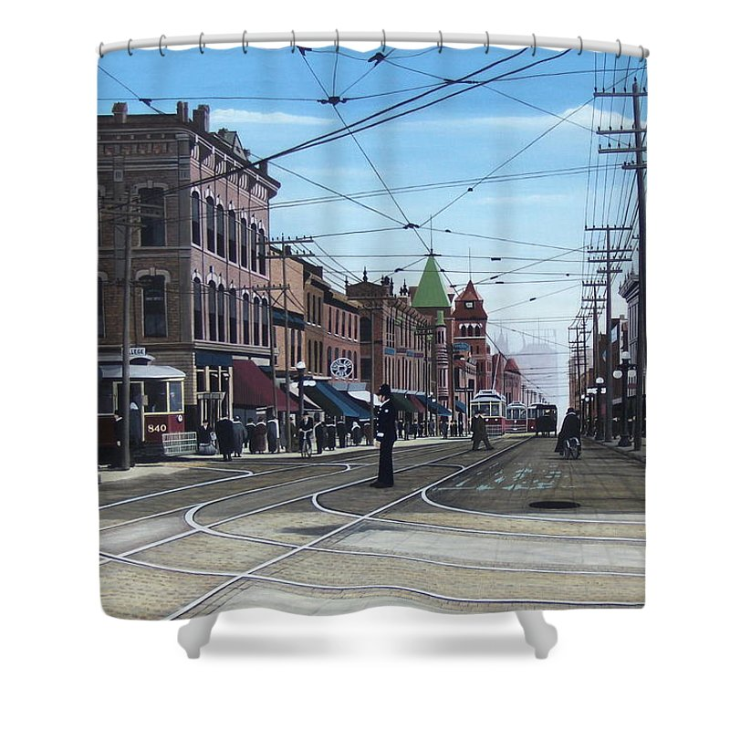 Streetscapes Shower Curtain featuring the painting Toronto Yonge And College 1916 by Kenneth M Kirsch
