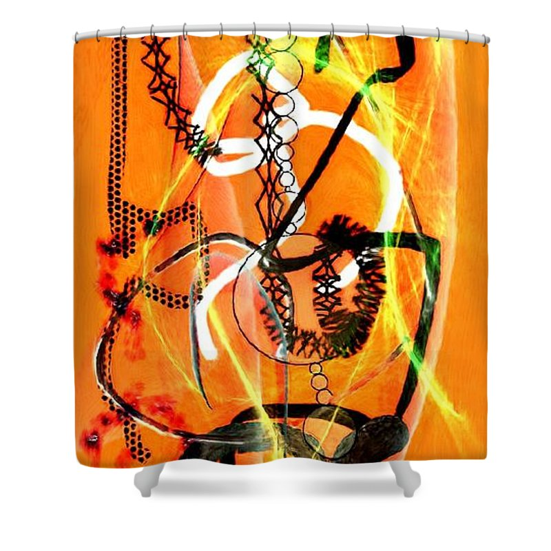 Orange Shower Curtain featuring the painting Confused by Bruce Nutting