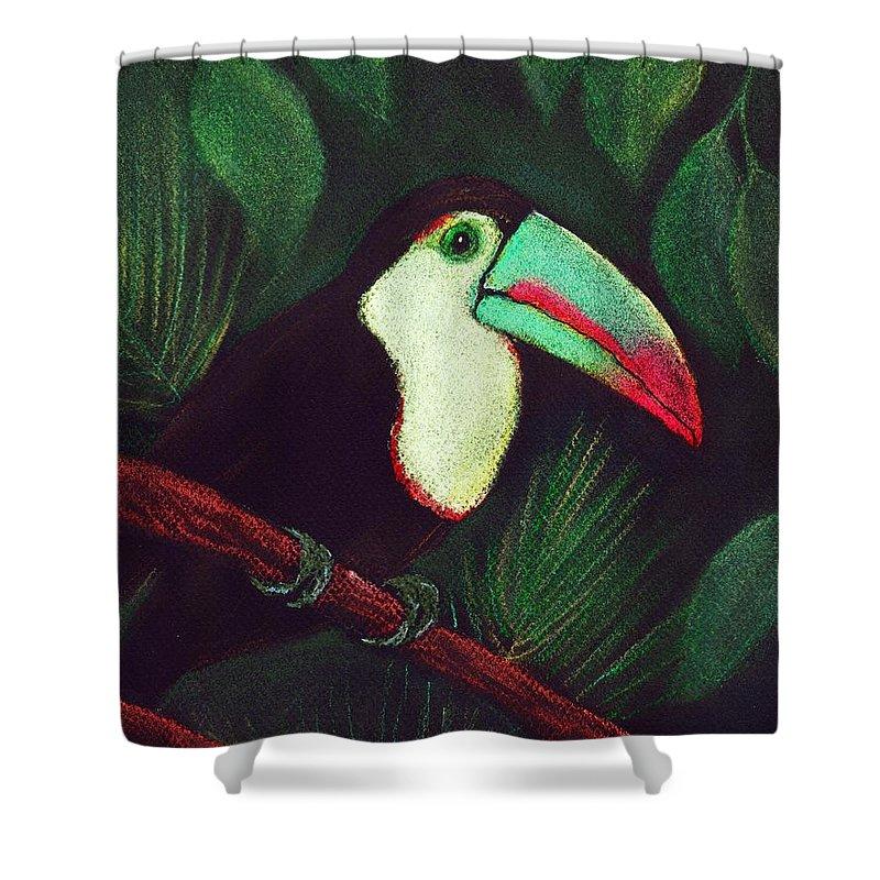 Malakhova Shower Curtain featuring the painting Toucan by Anastasiya Malakhova