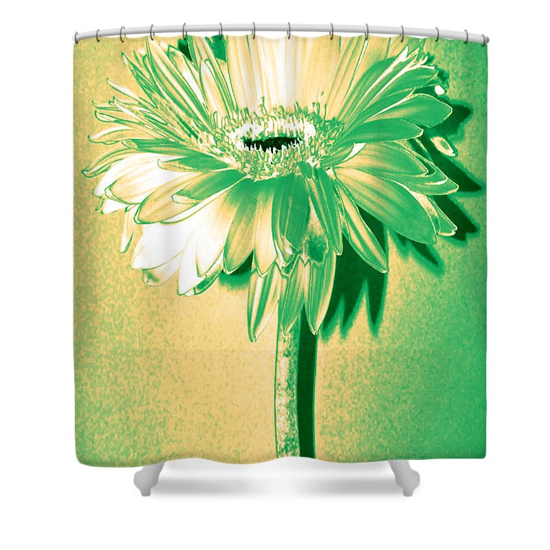 Original Photo Shower Curtain featuring the photograph Touch Of Turquoise Zinnia by Sherry Allen