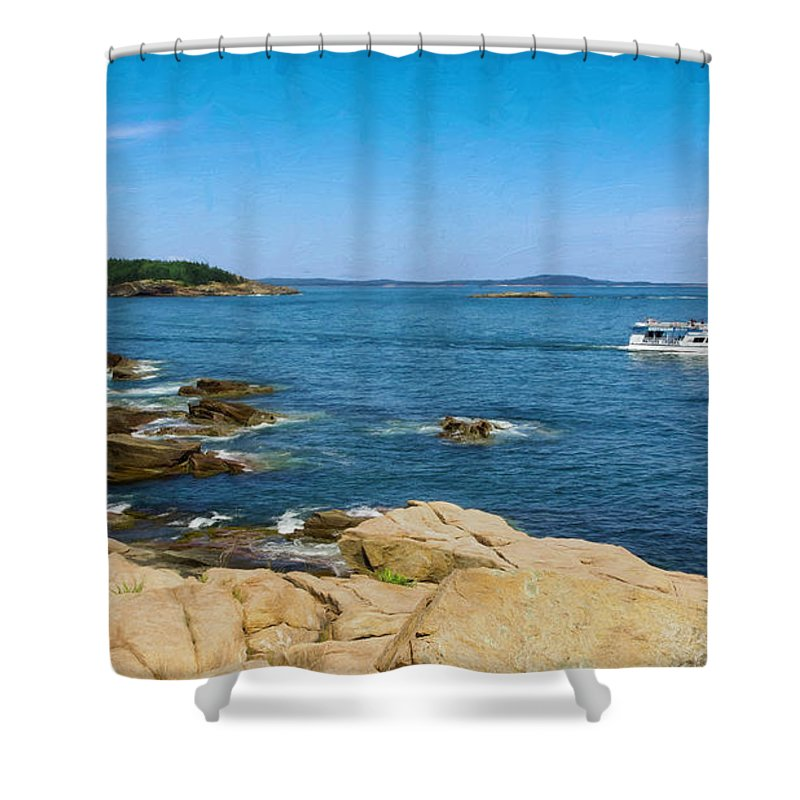 Mount Desert Island Shower Curtain featuring the photograph Touring The Rocky Shore by John M Bailey