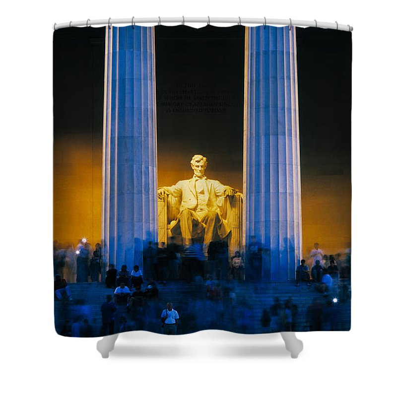 Photography Shower Curtain featuring the photograph Tourists At Lincoln Memorial by Panoramic Images