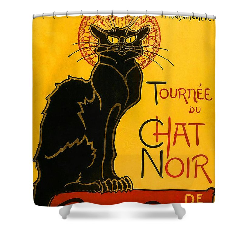 Art Nouveau Shower Curtain featuring the painting Tournee Du Chat Noir by Theophile Steinlen