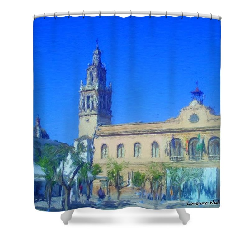 Town Hall Shower Curtain featuring the painting Town Hall In Ecija Spain by Bruce Nutting