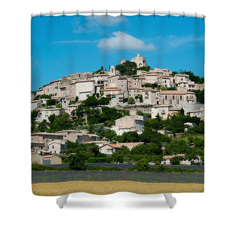 Photography Shower Curtain featuring the photograph Town On A Hill, D51, Sault, Vaucluse by Panoramic Images