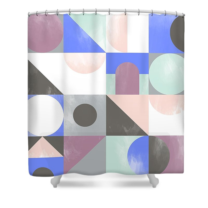 Pattern Shower Curtain featuring the painting Toy Blocks by Laurence Lavallee