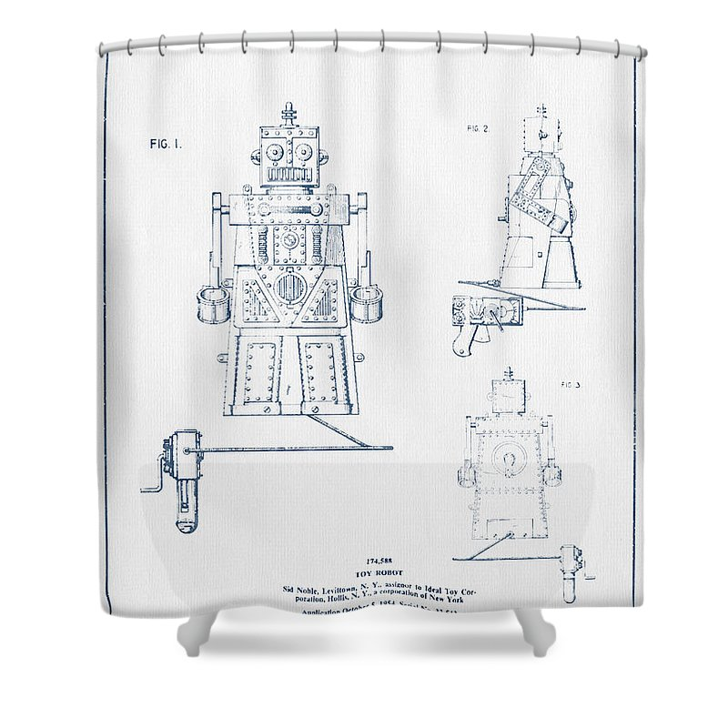 Starwars Shower Curtain Featuring The Digital Art Toy Robot Patent Drawing From 1955