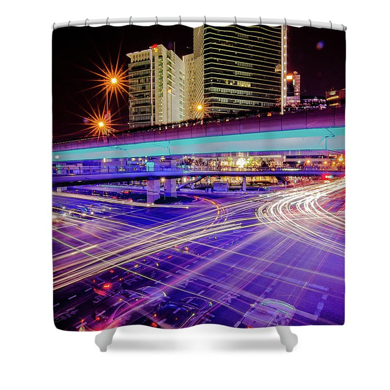 Outdoors Shower Curtain featuring the photograph Tracks Of Light 02 by Welcome To Buy The Image If You Like It!