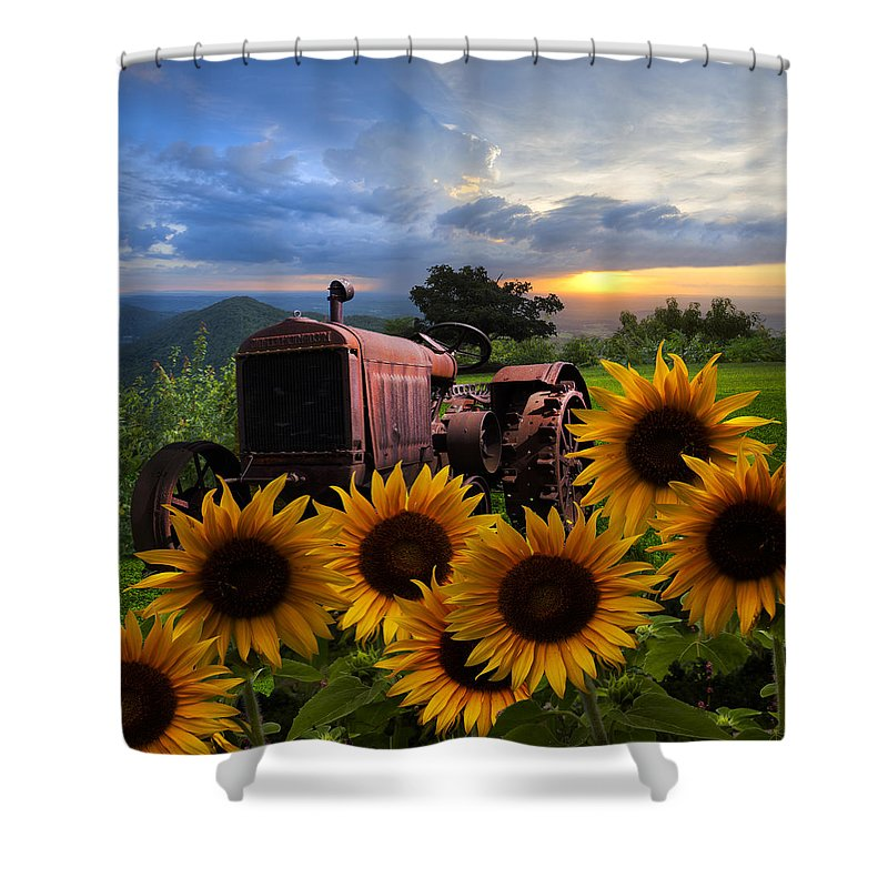 Appalachia Shower Curtain featuring the photograph Tractor Heaven by Debra and Dave Vanderlaan