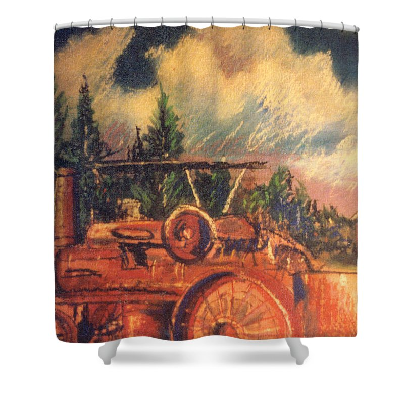 Tractor Shower Curtain featuring the mixed media Tractor by Keith Spence