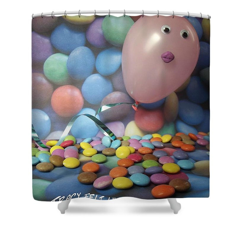 Airhead Shower Curtain featuring the photograph Tracy Felt Like A Real Airhead Surrounded By All These Smarties by Caroline Peacock