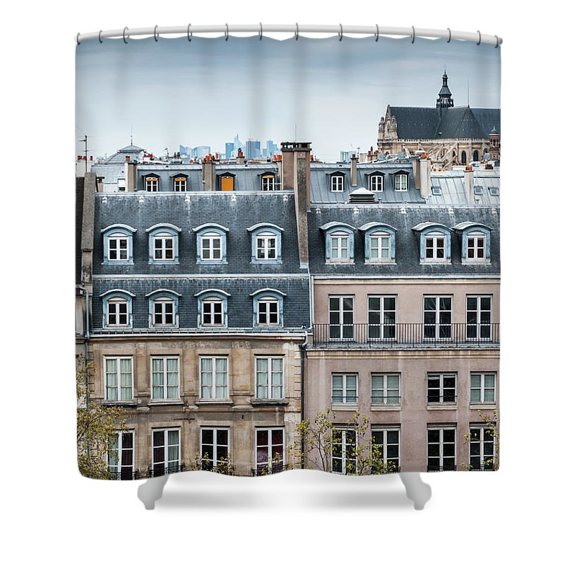 Built Structure Shower Curtain featuring the photograph Traditional Buildings In Paris by Mmac72