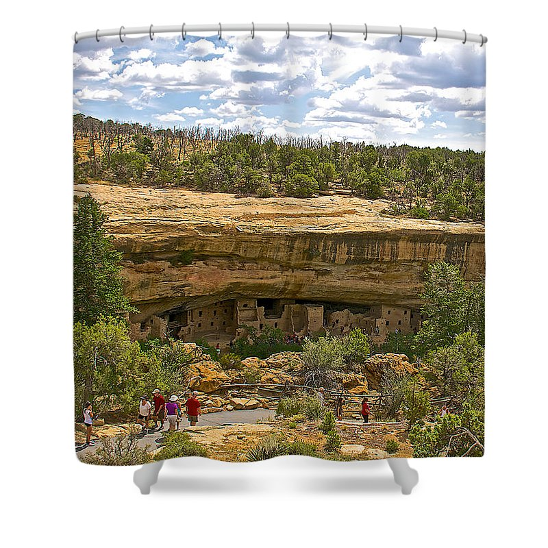 Trail View Of Spruce Tree House On Chapin Mesa In Mesa Verde National Park-colorado Mesa Verde National Park Shower Curtain featuring the photograph Trail View Of Spruce Tree House On Chapin Mesa In Mesa Verde National Park-colorado by Ruth Hager