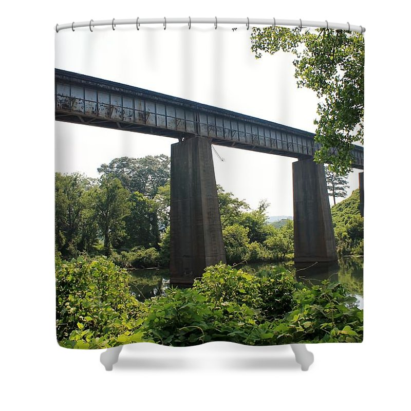 Shower Curtain featuring the photograph Train Bridge by Mary Koval