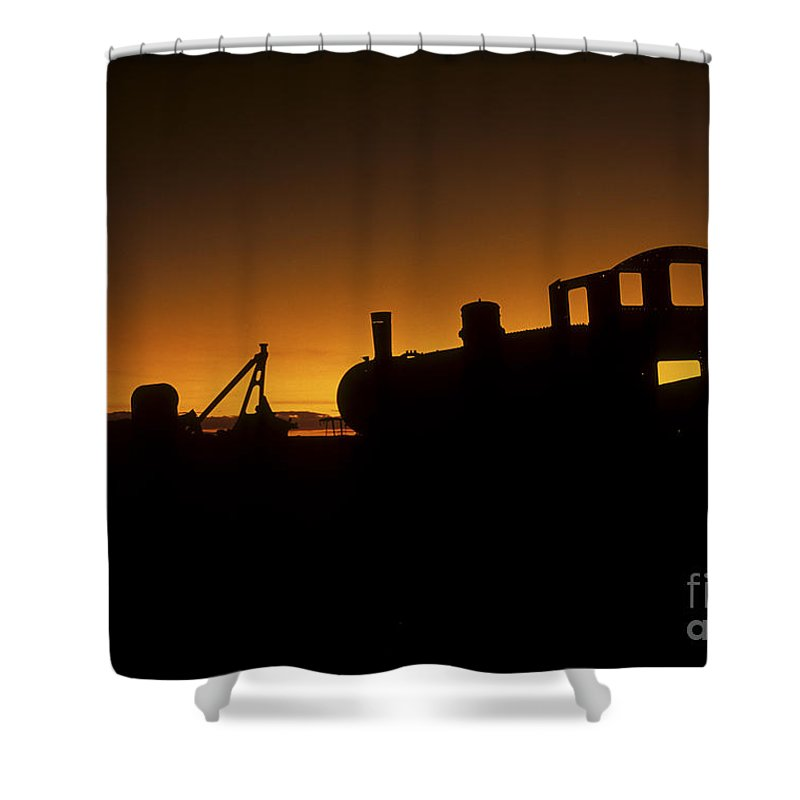 Train Shower Curtain featuring the photograph Uyuni Train Cemetery Sunset Bolivia by James Brunker