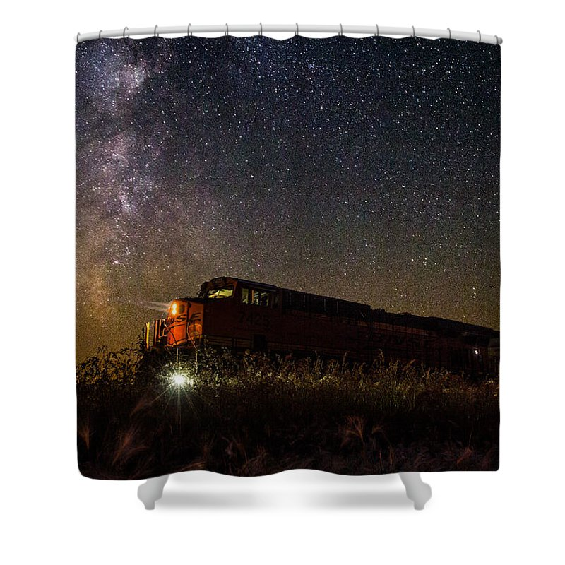 Train Shower Curtain featuring the photograph Train To The Cosmos by Aaron J Groen