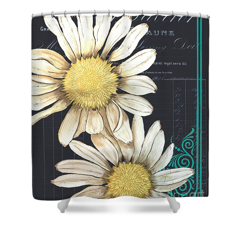 Daisy Shower Curtain featuring the painting Tranquil Daisy 1 by Debbie DeWitt