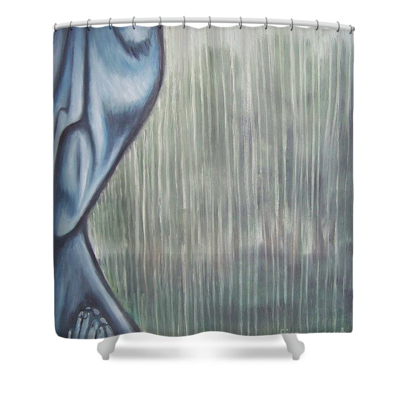 Tmad Shower Curtain featuring the painting Tranquil Rain by Michael TMAD Finney
