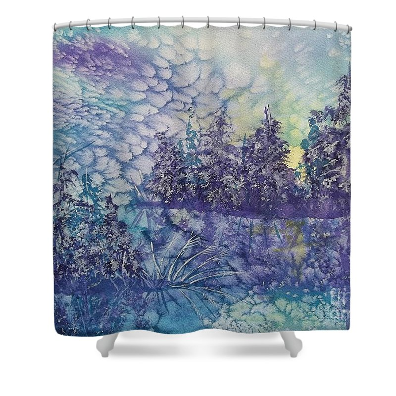 Frosty Winter Mornin Shower Curtain featuring the painting Tranquility by Ellen Levinson