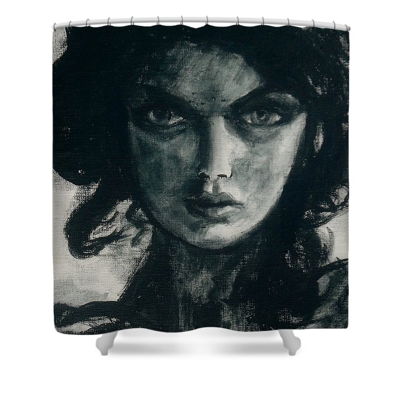 Portrait Art Shower Curtain featuring the painting Portait Of Beatcee May by Jarmo Korhonen aka Jarko