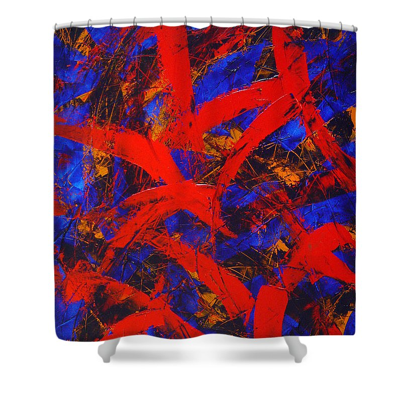 Abstract Shower Curtain featuring the painting Transitions With Blue And Red by Dean Triolo