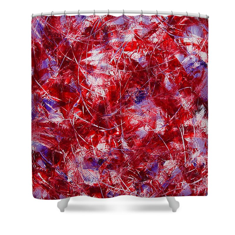 Abstract Shower Curtain featuring the painting Transitions With White Red And Violet by Dean Triolo