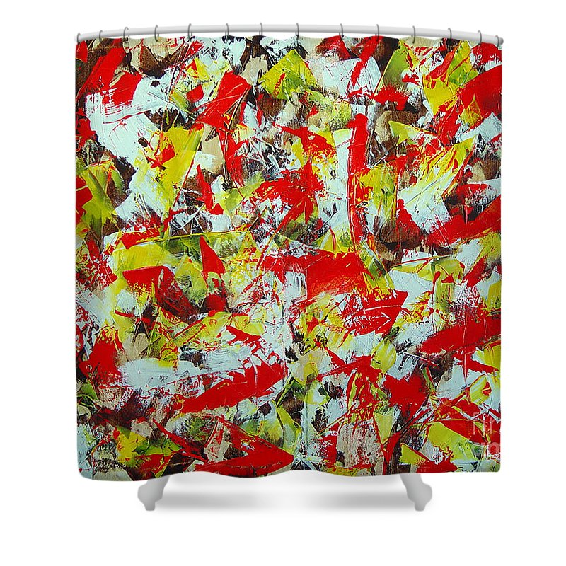 Abstract Shower Curtain featuring the painting Transitions With Yellow Brown And Red by Dean Triolo