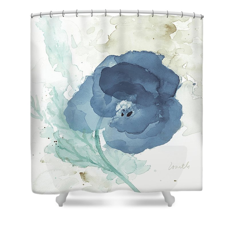 Translucent Shower Curtain Featuring The Painting Blue Poppy II By Lanie Loreth
