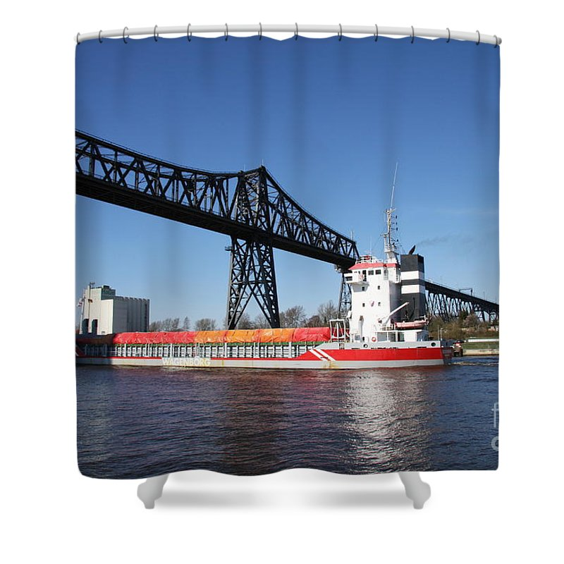 Bridge Shower Curtain featuring the photograph Transporter Bridge Over Canal Rendsburg by Christiane Schulze Art And Photography