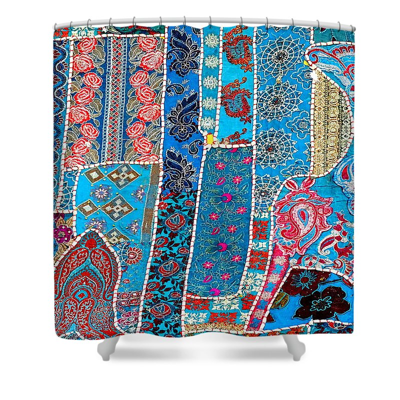 Travel Shower Curtain Featuring The Photograph Shopping Colorful Tapestry 2 India Rajasthan By Sue Jacobi