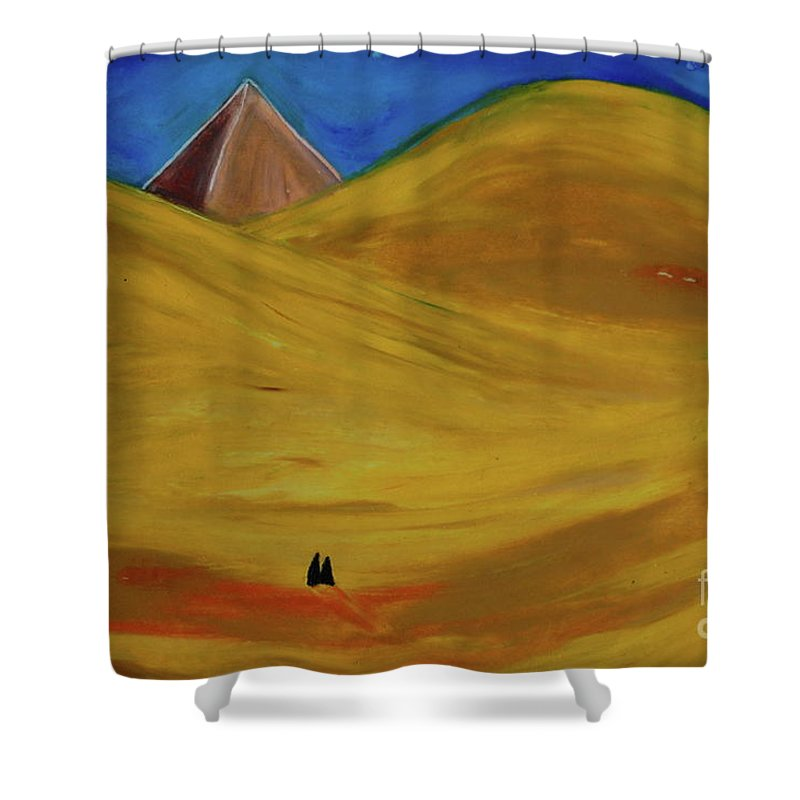 Pyramid Shower Curtain featuring the drawing Travelers Desert by First Star Art
