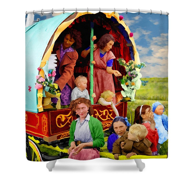Ireland Irish Buttevant Cork Countycork Travellers Pavee Gypsy Gypsies Caravan Cart Wagon Horse-drawn Horse History Historical Archive Sargent Coldbrook Pavee Child Children Boy Girl Woman Baby Shower Curtain featuring the digital art Travellers by William Sargent