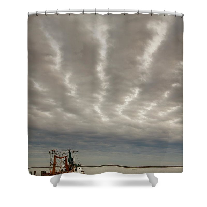 Trawler Shower Curtain featuring the photograph Trawler 2am-109703 by Andrew McInnes