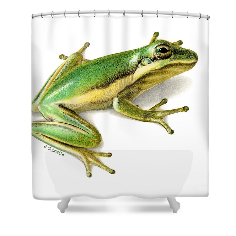Frog Shower Curtain Featuring The Painting Green Tree By Sarah Batalka