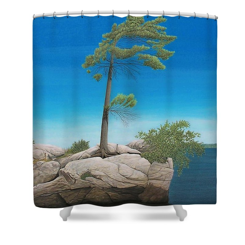 Landscapes Shower Curtain featuring the painting Tree In Rock by Kenneth M Kirsch
