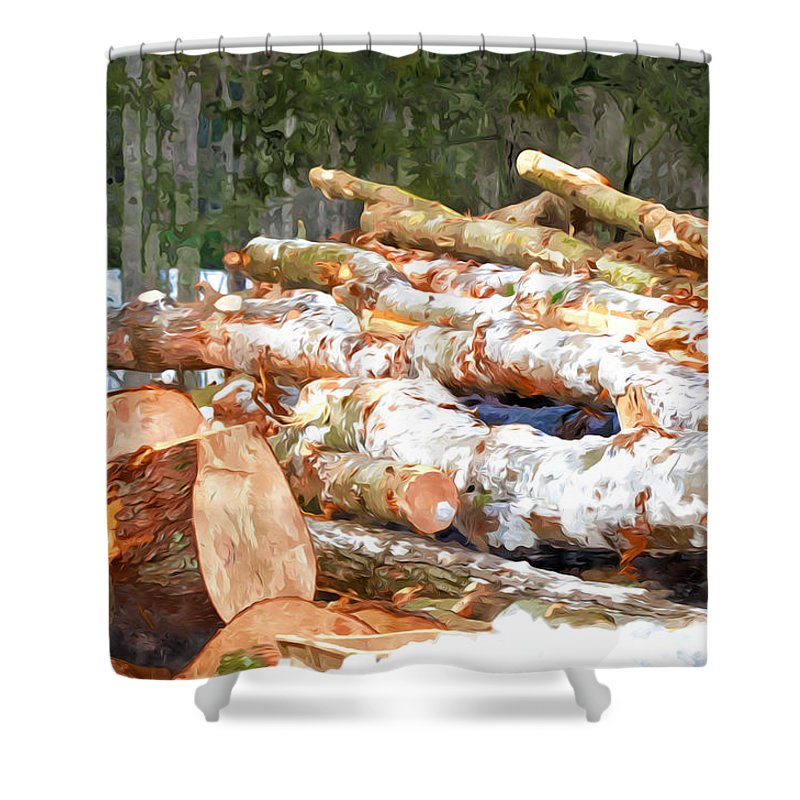 Brown Shower Curtain featuring the painting Tree Logs by Jeelan Clark