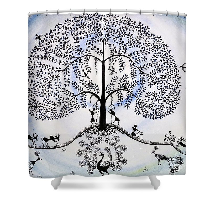 Warli Village Life Shower Curtain Featuring The Painting Tree Of By Anjali Vaidya