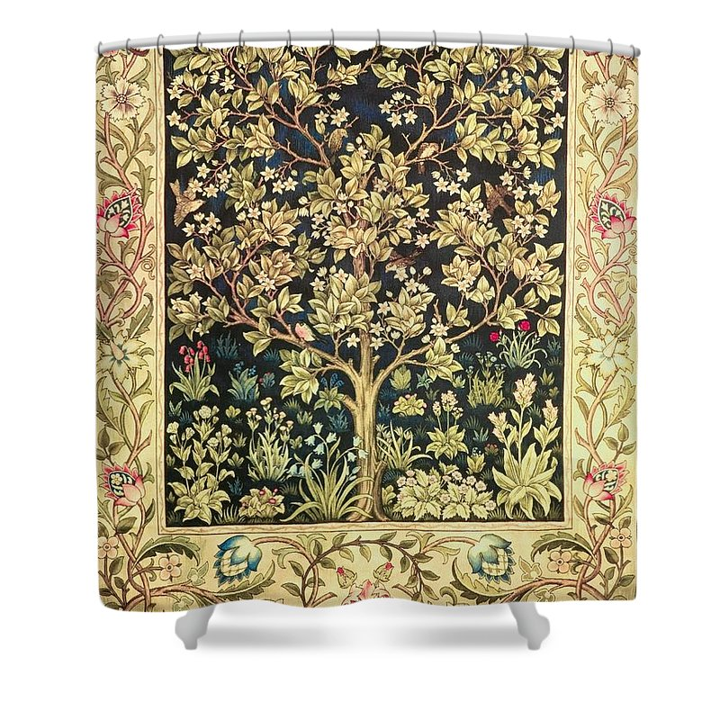 William Morris Shower Curtain Featuring The Painting Tree Of Life By