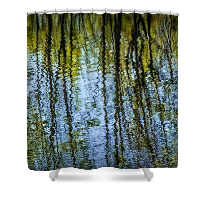 Art Shower Curtain featuring the photograph Tree Reflections On A Pond In West Michigan by Randall Nyhof