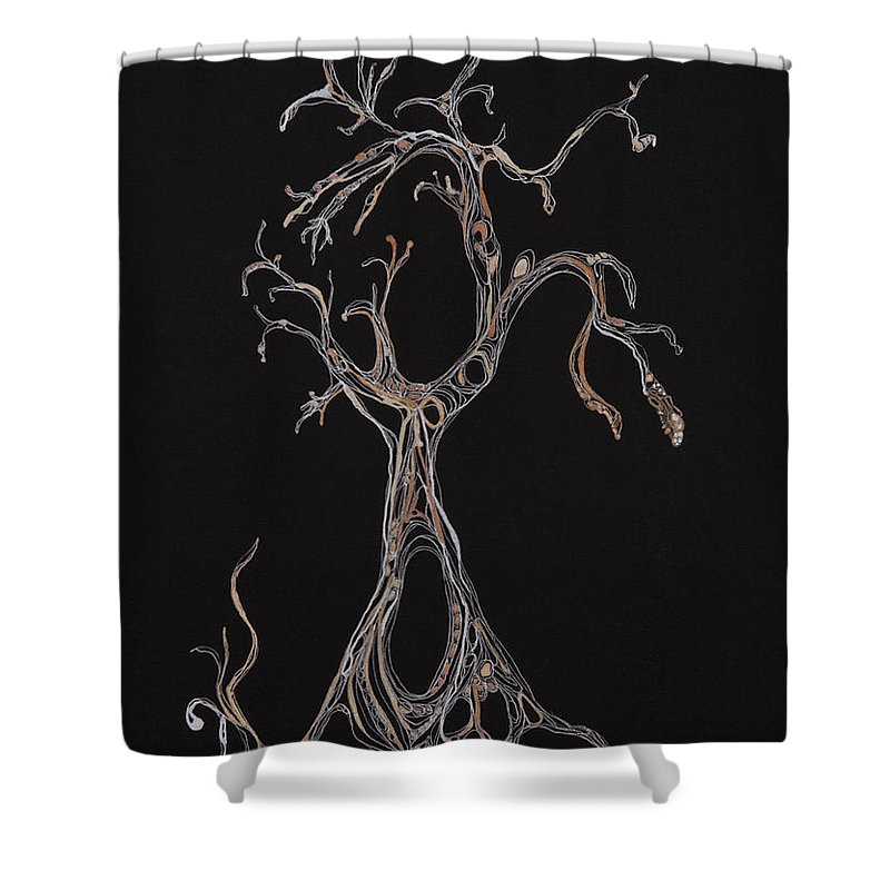 Tree Shower Curtain featuring the drawing Trees 4 by Christina Naman