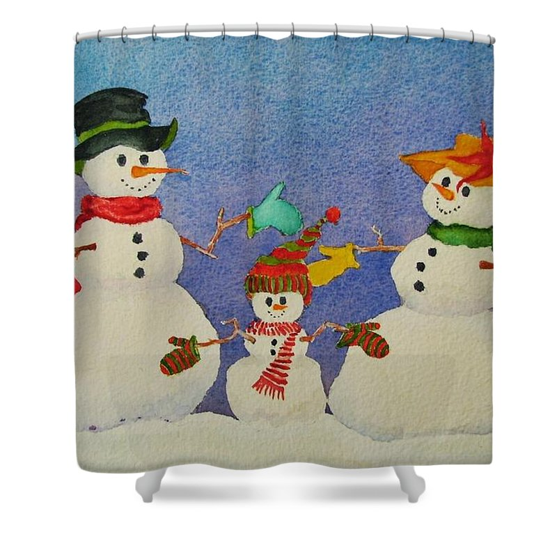 Winter Shower Curtain featuring the painting Tres Chic by Mary Ellen Mueller Legault
