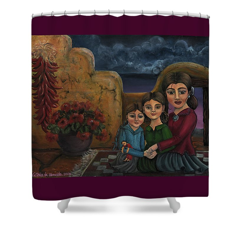 Mom Shower Curtain featuring the painting Tres Mujeres Three Women by Victoria De Almeida