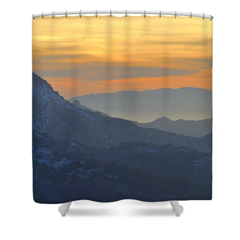 Sunset Shower Curtain featuring the photograph Trevenque Mountain 2079 M by Guido Montanes Castillo